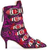 Gucci jacquard buckled ankle boots - women - Cotton/Leather/Polyester - 36