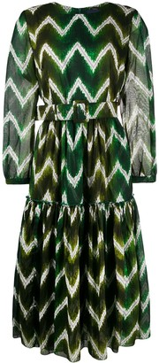 Samantha Sung Tiffany zigzag-print tiered dress