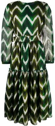 Samantha Sung Tiffany zigzag-print tiered dress