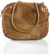Furla Brown Calf Hair Leather Trim Small Crossbody Handbag