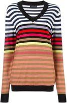 Sonia Rykiel striped v-neck jumper - women - Silk/Cotton - M