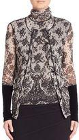 Fuzzi Chantilly Lace-Print Cardigan