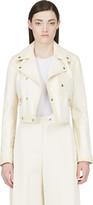 Yang Li Cream Leather Biker Jacket