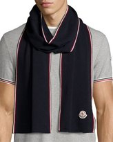 Moncler Wool Tricolor-Trim Logo Scarf, Navy