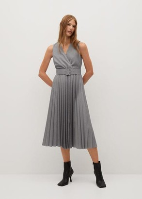 MANGO Pleated skirt dress grey - 2 - Women