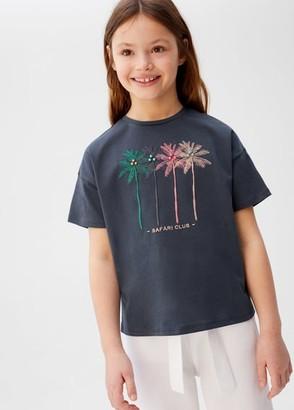 MANGO Embossed detail printed t-shirt