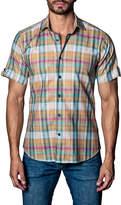 Jared Lang Plaid Short-Sleeve Sport Shirt, Orange Pattern