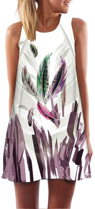 ESAILQ Dress Womens Solid Casual Plain Simple Loose Summer Sling Sundress Vintage Boho Sleeveless 3D Floral Pattern Goodlock Print Short Mini