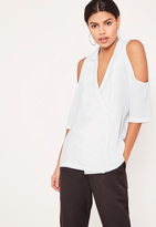 Missguided White Blazer Cold Shoulder Blouse