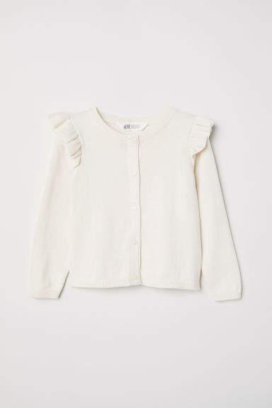 H&M Ruffled Fine-knit Cardigan - Beige