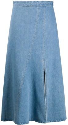 Simonetta Ravizza Front-Slit Flared Midi Skirt
