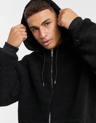 ASOS DESIGN oversized zip up hoodie in black teddy borg