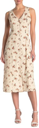 Emory Park Floral Printed Sleeveless Button Front Dress