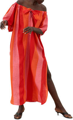 Mara Hoffman Kamala Striped Off-the-Shoulder Linen Maxi Dress