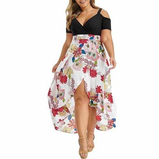 WOZOW Summer Dresses Women Plus Size Cold Shoulder Floral Dress High Low Hem Lightweight Flowy Deep V-Neck Red 20