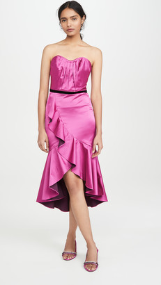 Marchesa Notte Strapless Draped Sweetheart Cocktail Dress