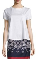 Moncler Short-Sleeve Cotton Jersey Lace-Trim Tee, White