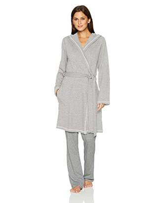 Mae Amazon Brand Women's French Terry Wrap Robe with Hood