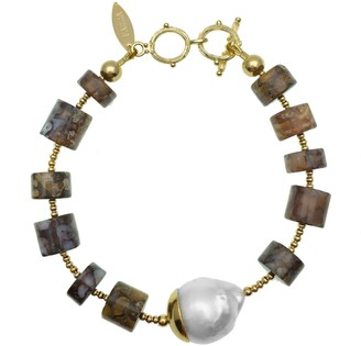 Farra Natural Fire Opal With Baroque Pearl Bracelet