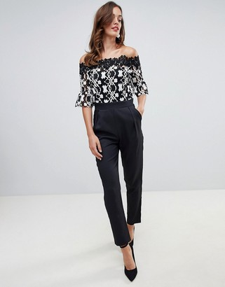 Paper Dolls jumpsuit with geometric lace top in monochrome-Multi
