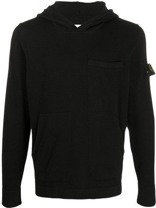Stone Island Logo Patch Long-Sleeved Hoodie