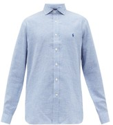 Polo Ralph Lauren Logo-embroidered Gingham Linen-oxford Shirt - Mens - Blue White