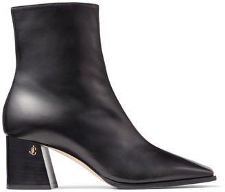Jimmy Choo BRYELLE 65 Black Calf Leather Block Heel Ankle Boots with JC emblem