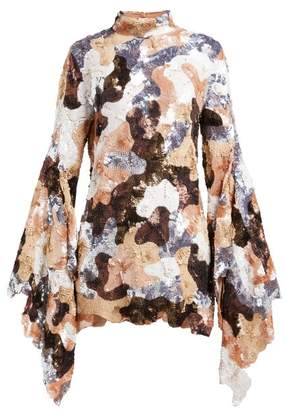 Ashish Camouflage Sequinned Flared Sleeve Mini Dress - Womens - Brown Multi