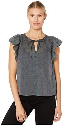 Lucky Brand Flutter Sleeve Top (Navy Multi) Women's Clothing