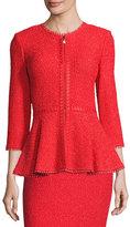 St. John Zula Peplum 3/4 Sleeve Jacket, Red