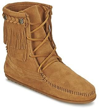 Minnetonka DOUBLE FRINGE TRAMPER women's Mid Boots in Brown