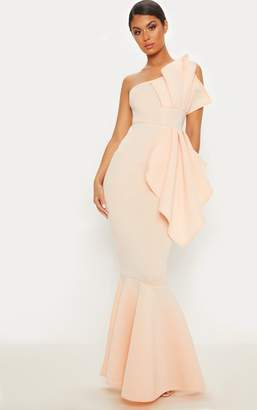 PrettyLittleThing Nude Bonded Scuba Pleated One Shoulder Fishtail Maxi Dress