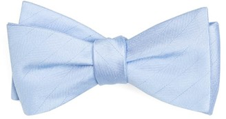 Tie Bar Herringbone Vow Light Blue Bow Tie