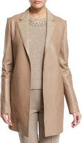 Ralph Lauren Bonded Leather Notch-Collar Coat, Clay