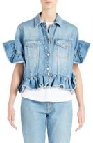MSGM Women's Ruffle Trim Crop Jean Jacket