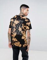 Obey Bleach T-shirt With Jumble Logo Back Print In Black