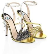 Gucci Wangy Crystal-Encrusted Metallic Leather Sandals