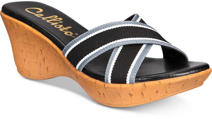 Callisto Segway Slide Platform Wedge Sandals Women Shoes
