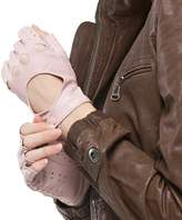 Nappaglo Women's Classic Half Finger Leather Driving Gloves Fingerless Lambskin Fitness Outdoor Unlined Gloves