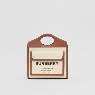 Burberry Mini Two-tone Canvas and Leather Pocket Bag