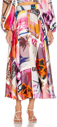 Zimmermann Wavelength Swing Skirt in Pink Poster Print | FWRD