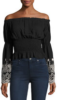 Romeo & Juliet Couture Smocked-Waist Embroidered-Cuff Top, Black/White