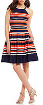 Vince Camuto Halter Stripe Fit and Flare Dress