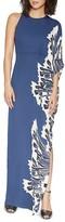 Halston Printed One-Sleeve Maxi Dress