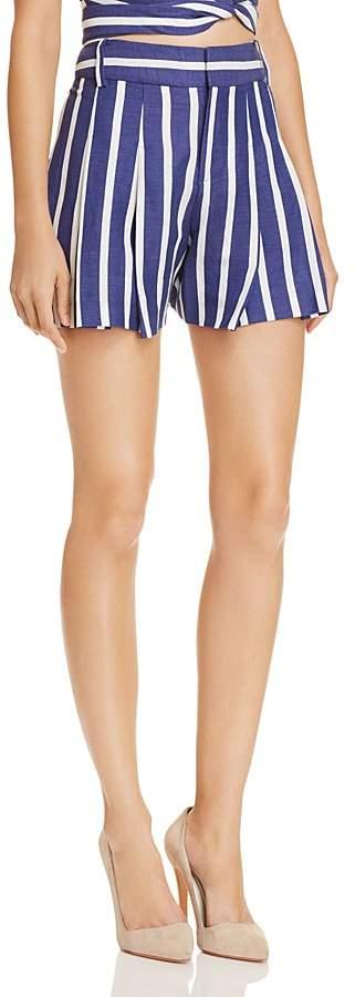 Alice + Olivia Scarlet Pleated Striped Shorts