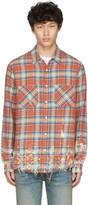 Amiri Brown Plaid Splatter Shirt