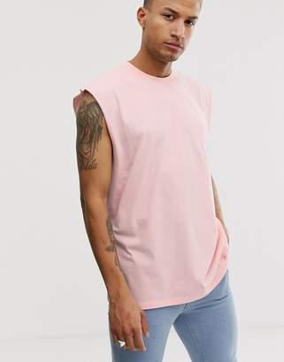 Asos Design DESIGN oversized longline sleeveless t-shirt in pink
