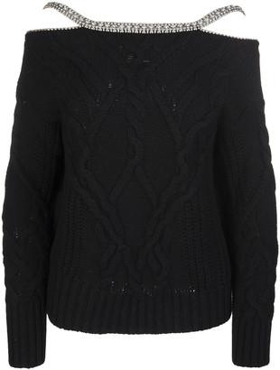 Ermanno Scervino Black Sweater With Jewel Straps