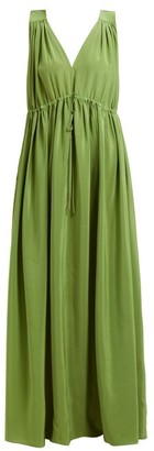 Three Graces London Solaine Silk Maxi Dress - Womens - Green