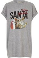 River Island Girls grey Santa cat print Christmas T-shirt